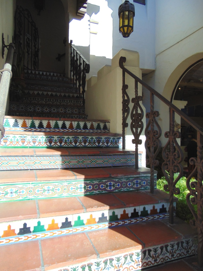 One of many mosaic tiled entryways in Carmel.
