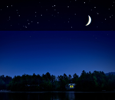 This image has an empty alt attribute; its file name is stars-and-cabin.jpg