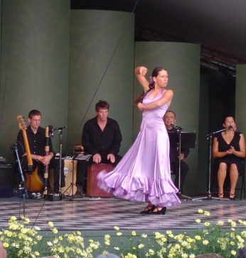 Flamenco on open air stage in gardens