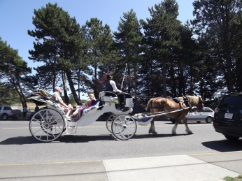 Horse and carriages are common for tourists