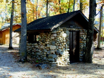 Practice room in fieldstone hut