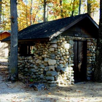 Practice room in fieldstone hut